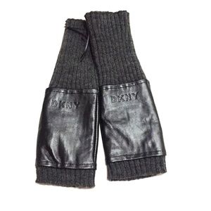 NWT DKNY Knit & Leather Fingerless Gloves One Size